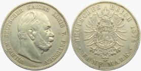Preussen - J 97 - 1876 A - Wilhelm I. (1861 - 1888) - 5 Mark - ss-vz