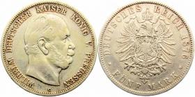 Preussen - J 97 - 1876 C - Wilhelm I. (1861 - 1888) - 5 Mark - ss
