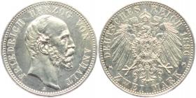 Anhalt - J 20 - 1896 A - Friedrich I. (1871 - 1904) - 2 Mark - vz - leicht gereinigt - in NGC-Slab