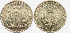 Hamburg - J 61 - 1876 J - Stadtwappen - 2 Mark - vz+ - AU 58 - in NGC-Slab