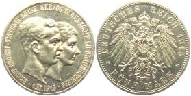 Braunschweig-Lüneburg - J 56 - 1915 A - Ernst August (1913 - 1918) - mit Ehefrau Luise von Preußen - 5 Mark - vz-st - MS 62 - in NGC-Slab