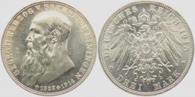 Sachsen-Meiningen - J 155 - 1915 - Georg II. (1866 - 1914) - Auf den Tod mit Lebensdaten -3 Mark - f.st - MS 64+ - in NGC Slab