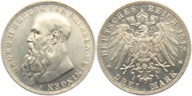 Sachsen-Meiningen - J 152 - 1913 D - Georg II. (1866 - 1914) - 3 Mark - vz-st - MS 62 - in NGC-Slab