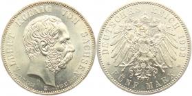 Sachsen - J 128 - 1902 E - Albert (1873 - 1902) - Auf den Tod mit Lebensdaten - 5 Mark - vz-st - MS 63 - in NGC-Slab