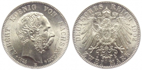 Sachsen - J 127 - 1902 E - Albert (1873 - 1902) - Auf den Tod mit Lebensdaten - 2 Mark - vz-st - MS 64 - in NGC-Slab