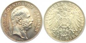 Sachsen - J 132 - 1904 E - Georg (1902 - 1904) - Auf den Tod mit Lebensdaten - 2 Mark - f.st - MS 64 - in NGC-Slab
