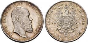 Württemberg - J 172  1876 F - Karl (1864 - 1891) - 2 Mark - vz+ - AU 58 - in NGC-Slab