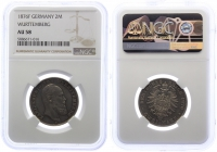 Württemberg - J 172  1876 F - Karl (1864 - 1891) - 2 Mark - vz+ - AU 58 - in NGC-Slab