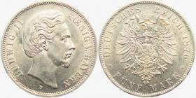 Bayern - J 42 - 1876 D - König Ludwig II. (1864 - 1886) - 5 Mark - vz-st in NGC Slab