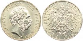 Sachsen - J 127 - 1902 E - Albert (1873 - 1902) - Auf den Tod mit Lebensdaten - 2 Mark - st - in NGC-Slab