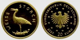 Deutschland - 2020 D - Heimische Vögel - Weißstorch - 20 Euro - 1/8 Unze - st