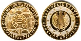 Deutschland - 2002 J - Währungsunion - 200 Euro - 1 Unze - st