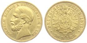 Braunschweig -  Lüneburg - 1875 A - Wilhlem (1830 - 1884) - 20 Mark - vz
