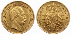 Hessen - J 213 - 1873 H - Ludwig III. (1848 - 1877) - 10 Mark st min. RF