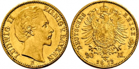 Bayern - J 194 - 1873 D - König Ludwig II. von Bayern (1864 - 1886) - 20 Mark - vz