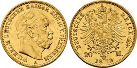 Preussen - J 243 - 1872 A - Kaiser Wilhelm I. (1861 - 1888) - 20 Mark - vz-st min. RF