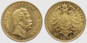 Hessen - J 214 - 1872 H - Ludwig III. (1848 - 1877) - 20 Mark vz+