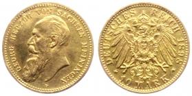 Sachsen-Meiningen - J 278 - 1898 D - Georg II. (1866 - 1914) - 10 Mark - ss-vz min. RF