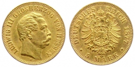 Hessen - J 215 - 1877 H - Ludwig III. (1848 - 1877) - 5 Mark st min. RF