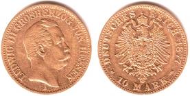 Hessen - J 216 - 1877 H - Ludwig III. (1848 - 1877) - 10 Mark ss-vz