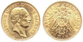 Sachsen - J 267 - 1905 E - Friedrich August III. (1904 - 1918) - 10 Mark - vz min. RF