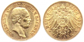 Sachsen - J 267 - 1905 E - Friedrich August III. (1904 - 1918) - 10 Mark - vz