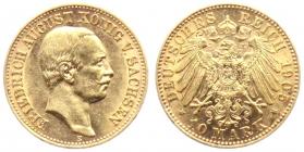 Sachsen - J 267 - 1905 E - Friedrich August III. (1904 - 1918) - 10 Mark - vz-st