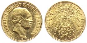 Sachsen - J 267 - 1906 E - Friedrich August III. (1904 - 1918) - 10 Mark - vz
