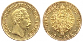 Hessen - J 216 - 1877 H - Ludwig III. (1848 - 1877) - 10 Mark vz+