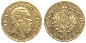 Hessen - J 219 - 1878 H - Ludwig IV. (1877 - 1892) - 10 Mark ss+