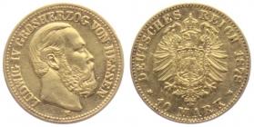 Hessen - J 219 - 1878 H - Ludwig IV. (1877 - 1892) - 10 Mark f.vz min. RF