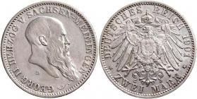 Sachsen-Meiningen - J 149 - 1901 D - Georg II. (1866 - 1914) - Zum 75. Geburtstag - 2 Mark - ss-vz