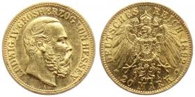 Hessen - J 221 - 1892 A - Ludwig IV. (1877 - 1892) - 20 Mark vz-st min. RF