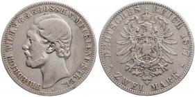 Mecklenburg-Strelitz - J 90 - 1877 A - Friedrich Wilhelm (1860 - 1904) - 2 Mark - ss