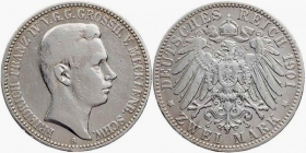 Mecklenburg-Schwerin - J 85 - 1901 A - Friedrich Franz IV. (1901 - 1918) - 2 Mark - ss