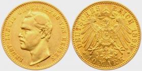 Hessen - J 222 - 1893 A - Ernst Ludwig (1892 - 1918) - 10 Mark vz
