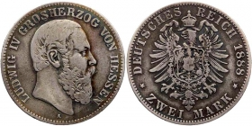 Hessen - J 68 - 1888 A - Lugwig IV. (1877 - 1892) - 2 Mark - ss