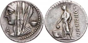 Römische Kaiserzeit - L. Cassius Loninus (63 v. Chr.) - Denar - f.vz