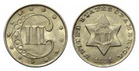 USA - 1851 - 3 Silver-Cents - Stern - prägefrisch