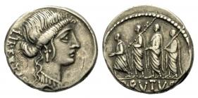 Römische Kaiserzeit - M. Iunius Brutus - 54 v. Chr. - Denar - gutes ss