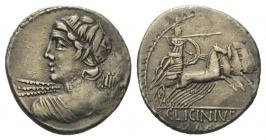 Römische Kaiserzeit - C. Licinius Macer (84 v. Chr.) - Denar - f.vz