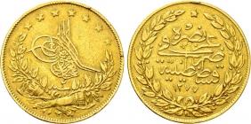 Türkei - 1278 - 1861 AD - Abdul Aziz (1861 - 1876) - 100 Kurush - vz min. RF
