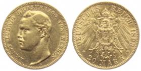 Hessen - J 223 - 1893 A - Ernst Ludwig (1892 - 1918) - 20 Mark ss