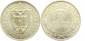 Weimarer Republik - J 323 - 1926 A - Lübeck - 3 Reichsmark - f.st