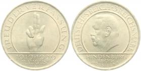 Weimarer Republik - J 340 - 1929 A - Schwurhand - 3 Reichsmark - f.st