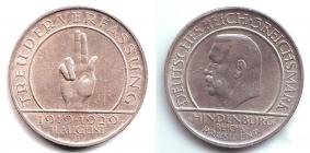 Weimarer Republik - J 340 - 1929 D - Schwurhand - 3 Reichsmark - vz-st