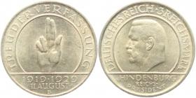 Weimarer Republik - J 340 - 1929 D - Schwurhand - 3 Reichsmark - f.st