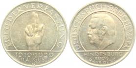 Weimarer Republik - J 340 - 1929 G - Schwurhand - 3 Reichsmark - vz