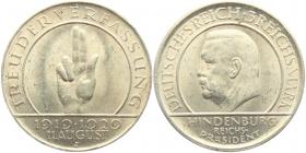 Weimarer Republik - J 340 - 1929 J - Schwurhand - 3 Reichsmark - vz-st