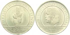 Weimarer Republik - J 340 - 1929 J - Schwurhand - 3 Reichsmark - f.st